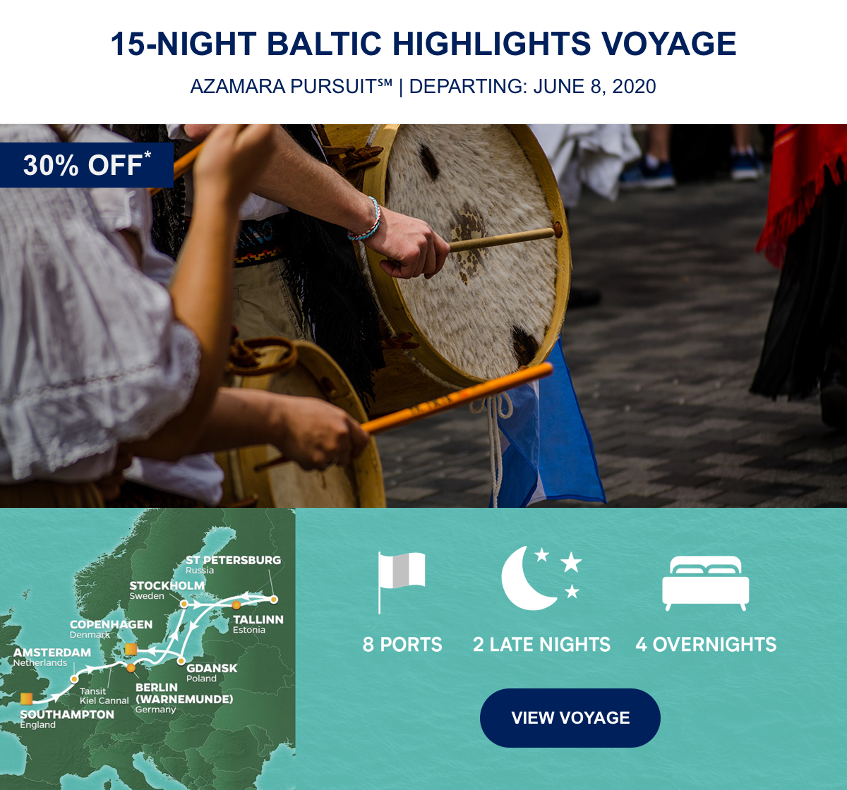 30% OFF* 15-Night Baltic Highlights Voyage Azamara Pursuit℠ | Departing: June 8, 2020 | 8 Ports 2 Late Nights 4 Overnights View Voyage