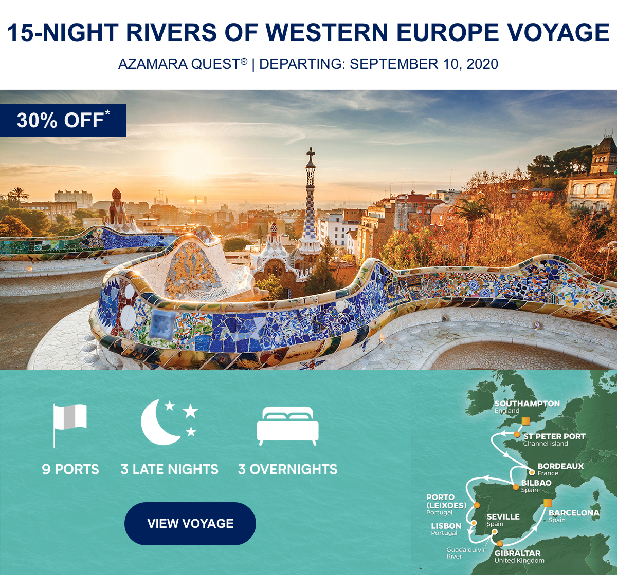 30% OFF* 15-Night Rivers Of Western Europe Voyage Azamara Quest® | Departing: September 10, 2020 | 9 Ports 3 Late Nights 3 Overnight View Voyage